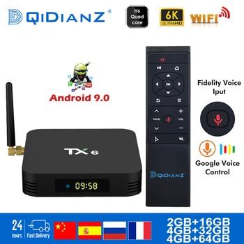 Tanix TX6 Smart TV BOX Android 9.0 Quad core ARM Cortex-A53 USB3.0 4G + 64G 2.4G/5G double WIFI BT4.1 4K Neftflix Google décodeur