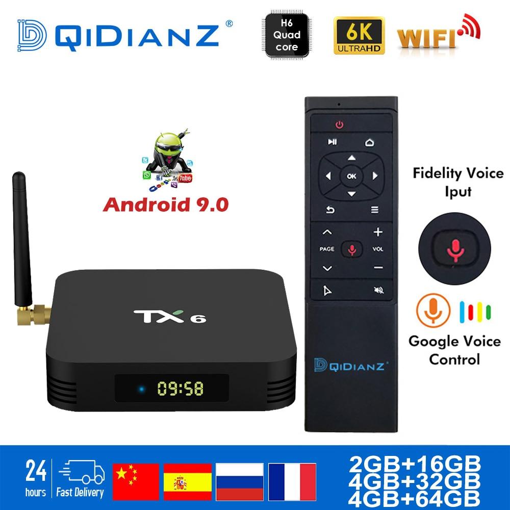 Tanix tx6 smart tv caixa android 9.0 quad núcleo braço Cortex-A53 usb3.0 4g + 64g 2.4g/5g duplo wifi bt4.1 4 k neftflix google definir caixa superior