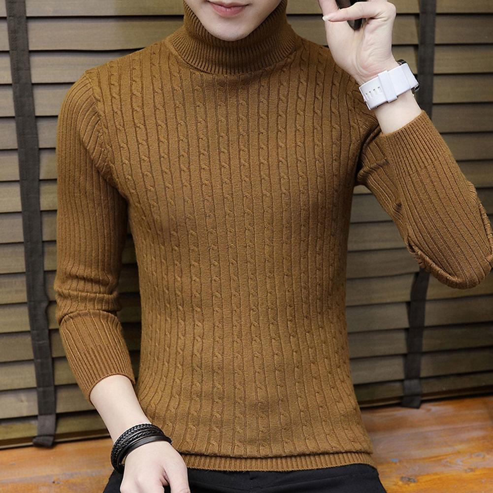 Fashion Winter Chic Men Solid Color Turtleneck Long Sleeve Knitted Sweater Bottoming Top Acrylic Sweater Standard Wool  M-3XL 1