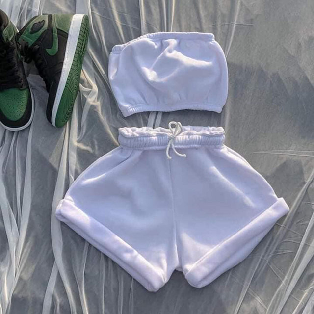 Women's 2021 Crop Top Solid Sportswear Two Piece Sets New Casual Drawstring Shorts Matching Set Summer Sexy Athleisure Outfits 2