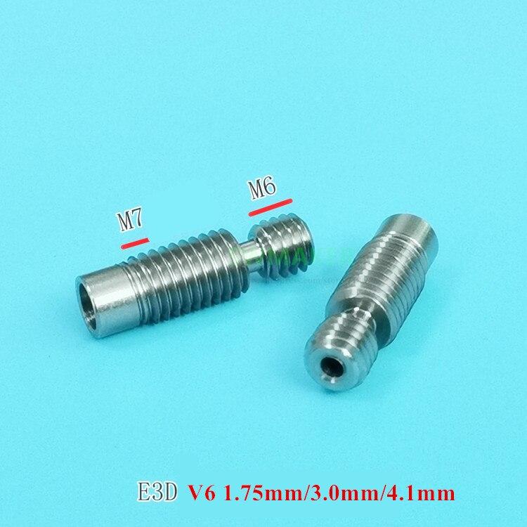 2pcs V6 Titanium Alloy Heat Break 1.75/3.0mm/4.1mm Hotend Throat Super Smooth TC4 Thermal Barrel Prusa I3 MK3 3D Printer Parts