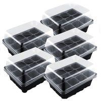 5 Set 12 Zellen Kindergarten Topf Saatgut Tray Kit Anlage Keimung Box Mit Deckel Garten Wachsen Box