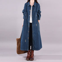 Women Big Size Loose Single Breasted Denim Trench Coat Ladies Casual Oversize Vi