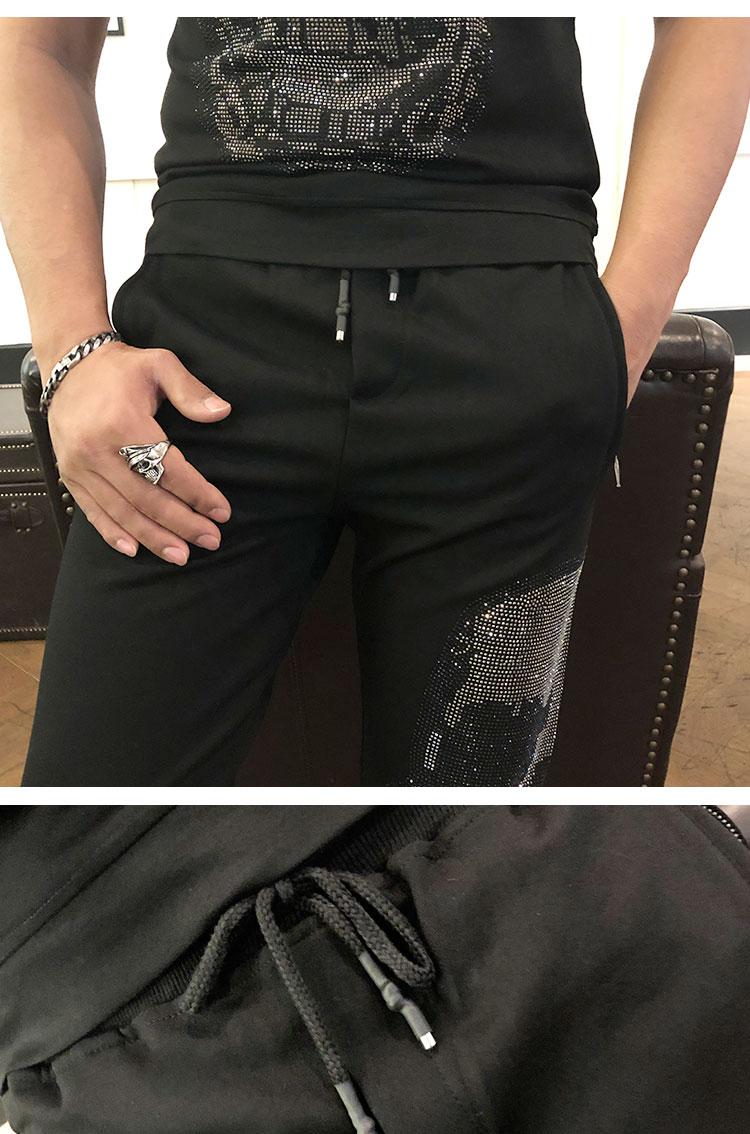 Freeship mens set rhinestone beading fashion bling sweatshirts/short sleeve T shirt with pants/elastic waist show/club/top - 3