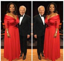 Elegancki Oprah Winfrey nowy czerwony Off The Shoulder suknia wieczorowa długi szyfonowy formalna odzież na wakacje suknia wieczorowa Custom Made Plus rozmiar tanie tanio Forevergracedress V-neck Trzy czwarte Długość podłogi Poliester -Line Celebrity sukienki Satyna vintage Zakładka