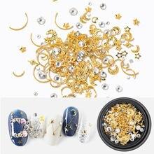 HNUIX-Bijoux à paillettes pour ongles, Styles mixtes, étoile, breloques, gemmes en Métal, Tranche, Rivet à faire soi-même, Dos Plat, décorations pour Nail Art