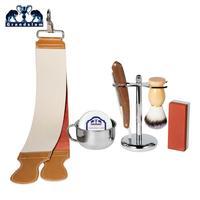 Grandslam Shaving Blade Razor Kit Vintage Straight Razors Synthethic Nylon Shaving Brush Holder Leather Sharpen Strop Waterstone