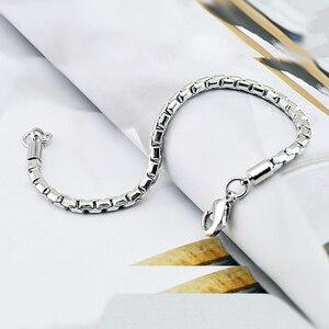 Image 5 - Véritable 100% bracelet en argent sterling pour garçons mode solide 925 argent 5MM 20cm serpent chaîne bracelet punk style femme homme bijoux