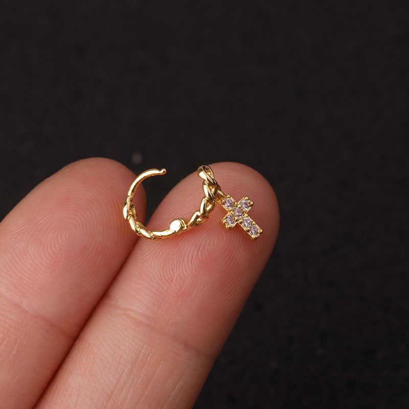 1ชิ้นเหล็กผ่าตัดขนาดเล็ก5มม.สีเล็ก Hoop ต่างหู Cz Tragus Daith Rook กระดูกอ่อนหูเจาะเครื่องประดับ