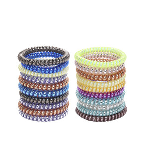 20 Pcs Multicolor Elastic Hair Bands Spiral Shape Ponytail Hair Ties Gum Rubber Band Hair Rope Telephone Wire Hair Accessories