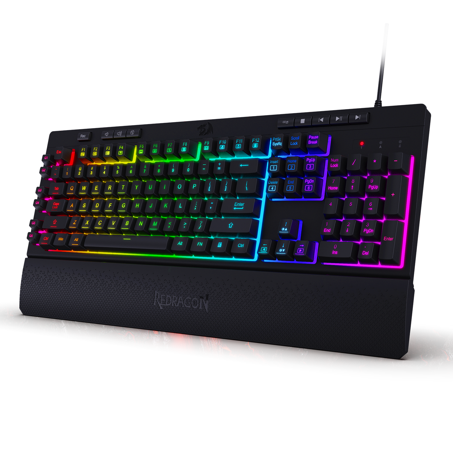 Redragon K512 Shiva RGB Backlit Membrane Gaming Keyboard With Multimedia Keys, 6 Extra On-Board Macro Keys, Media Control