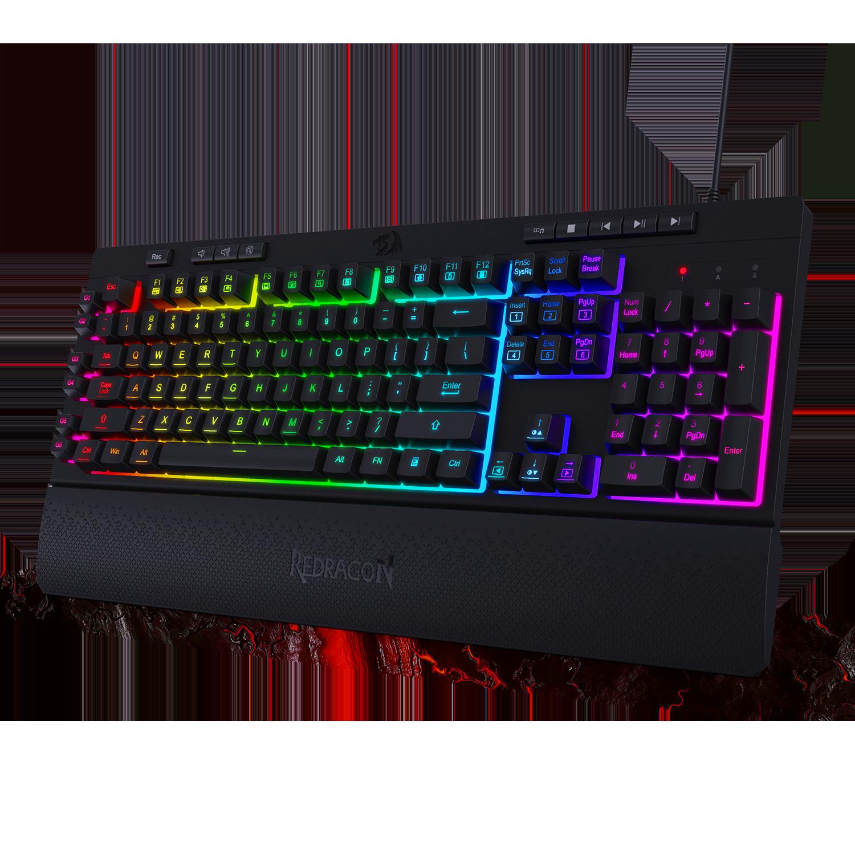 Redragon K512 Shiva RGB Backlit Membrane Gaming Keyboard With Multimedia Keys, 6 Extra On-Board Macro Keys, Media Control
