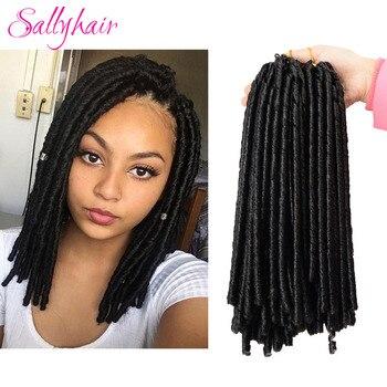 Sallyhair, 14 дюймов, 70 г/упак., вязаные крючком косички, синтетические косички для наращивания волос, афро прически, мягкие, искусственные косички, коричневые, черные, толстые, полные