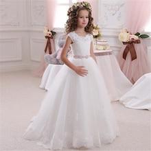 Weiße Blume Mädchen Kleider Ärmellose Spitze Applique Tüll Bodenlangen Fluffy Mädchen Erste Heilige Kommunion Prinzessin Kleider