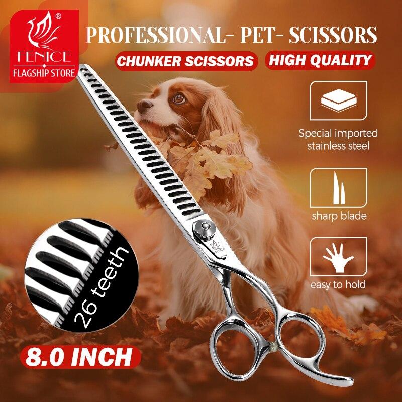 Fenice profissional 8 polegada 26 dentes cão tesoura pet grooming tesoura desbaste tesouras corte de cabelo animal fornecedor