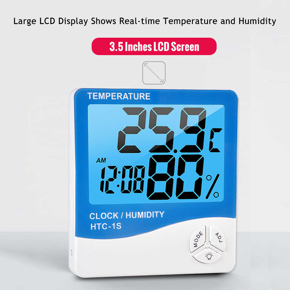 LCD Digital Thermometer Hygrometer Thermo-Hygrometer Room temperature meter Humidity Gauge Meter Alarm Clock Digital Thermostat