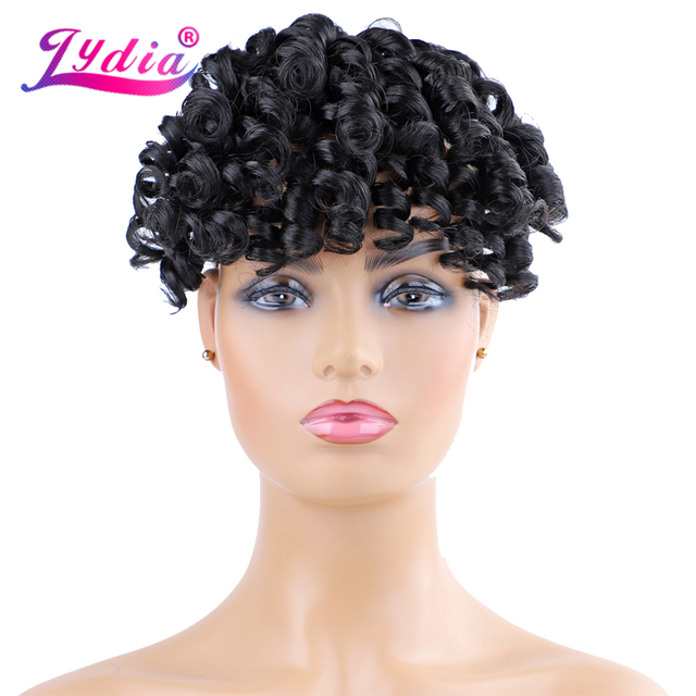 Lydia Fake Curly Fringe Clips In Bangs With High Temperature Fiber Hairpieces Natural Black Loose Wave Synthetic Hair Extensions