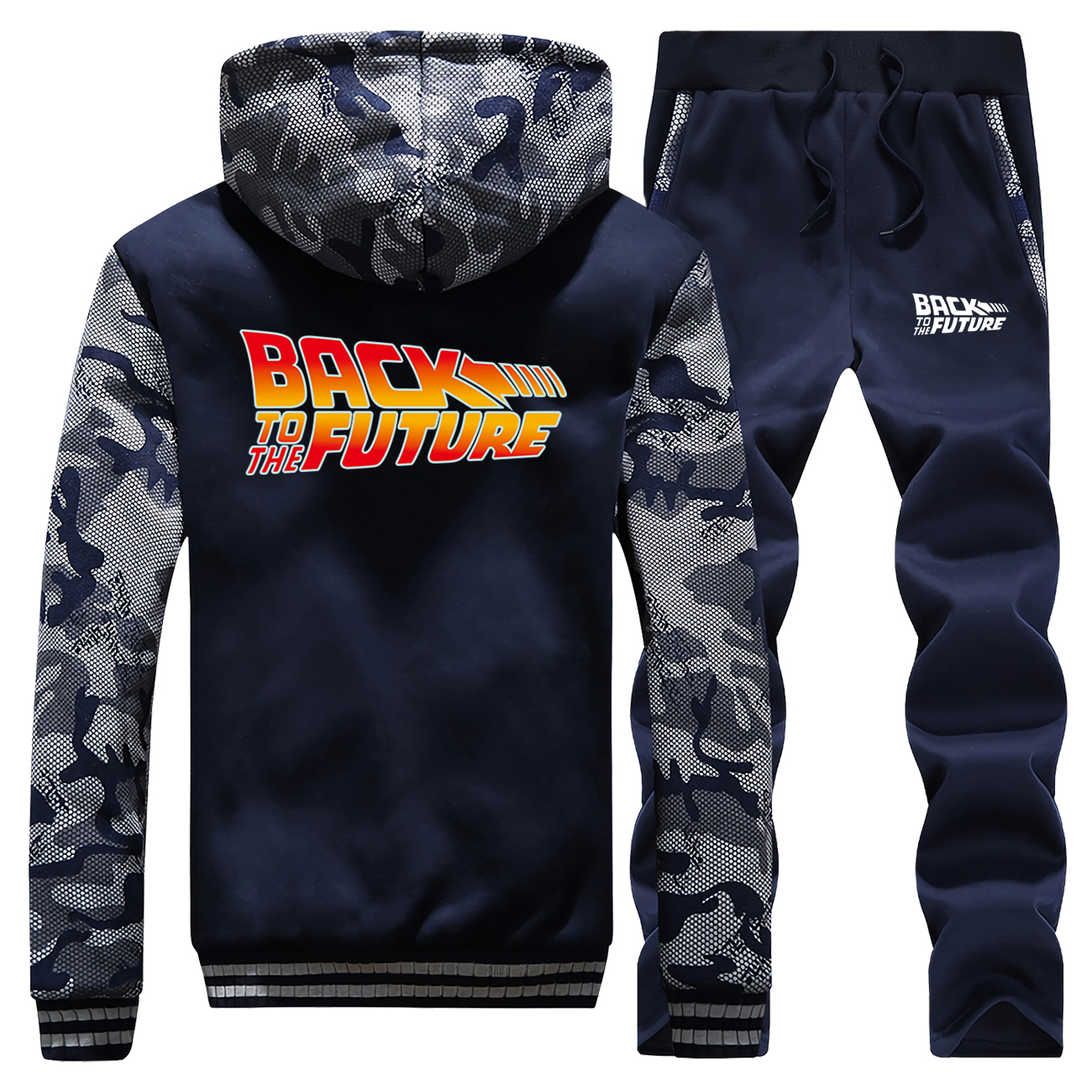 Back To The Future Winter New Casual Men Jacket Coat Thick Hip Hop Camouflage Mens Hoodies Suit Sportswear + Pants 2 Piece Set