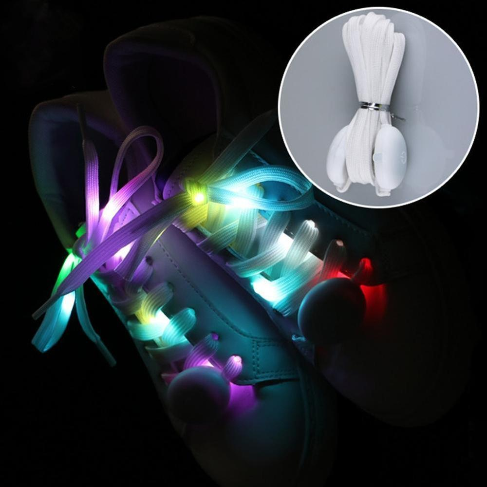 1 Pair 120CM  New LED Shoelaces Cool Luminous Flashing Shoe Laces Disco Party Light Up Glow Nylon Strap