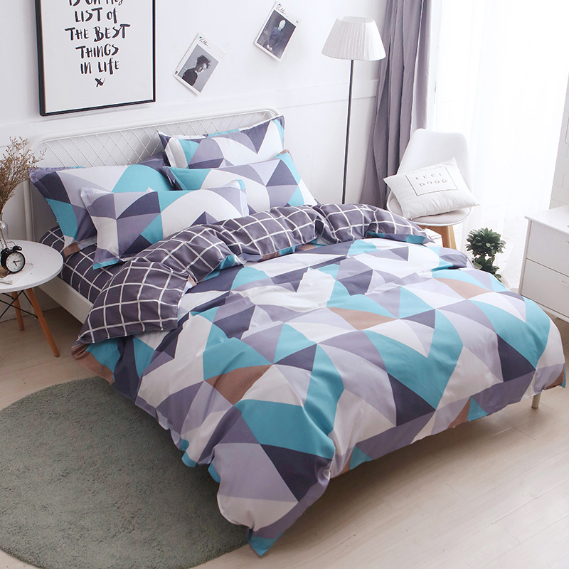 Geometric Printed 4pcs Girl Boy Kid Bed Cover Set Duvet Cover Adult Child Bed Sheets Pillowcases Comforter Bedding Set 61036
