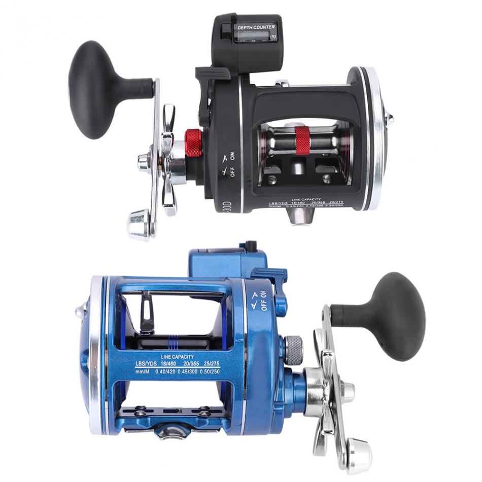 12BB 3.8:1 Drum Wheel Fishing Reel with Line Counter Aluminum Alloy Fishing Trolling Reel Left Right Handed Reel Fishing Tackle(China)