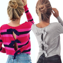 2019 New Arrivals Casual Bow Bandage Long Sleeve Women Tops Striped and Shirt