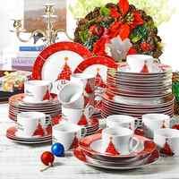VEWEET ensemble de vaisselle en porcelaine de Style noël 60 pièces avec tasse 12 *, soucoupe, assiette à Dessert, assiette creuse, ensemble d'assiettes à dîner cadeau