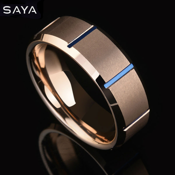 Men 8mm Rose Gold Matte Finish Tungsten Carbide Ring Blue Plated Beveled Wedding Band,Free Shipping, Customized china custom shop green quilted finish al signature lp electric guitars with gold floyd rose tremolo free shipping