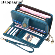 6 Color Luxurious PU Oil Waxing Leather Vintage Women Wallet