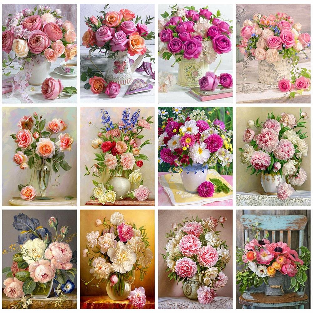 HUACAN 5D алмазная картина, художественные наборы, цветок, алмазная вышивка, продажа, Розовый пион, стразы, полностью мозаичный Декор для дома
