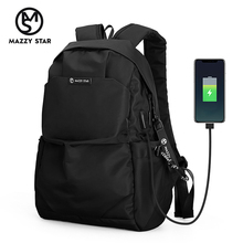 Mazzy Star mochila de moda escolar para hombre, morral resistente al agua, con carga USB externa, MS_936