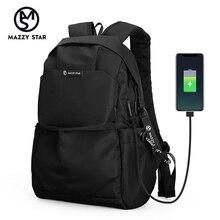 Mazzy Star nowa moda szkolna mężczyźni plecak torba wodoodporny plecak mężczyźni zewnętrzne USB Charge Bag MS_936