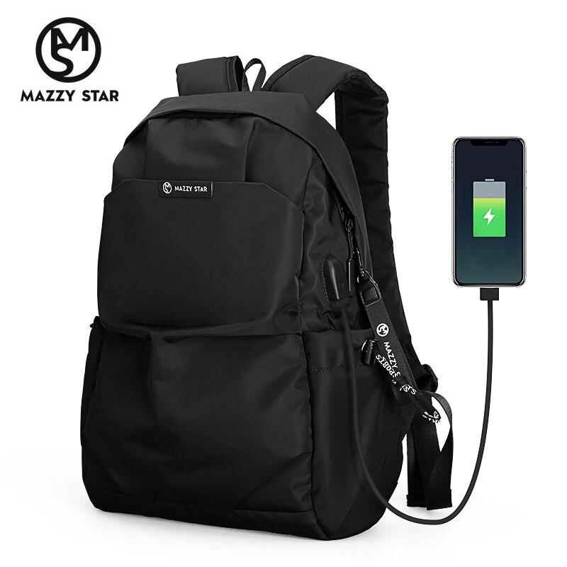 Mazzy estrela nova escola moda masculina mochila à prova de água mochila masculino carga usb externo saco ms_936