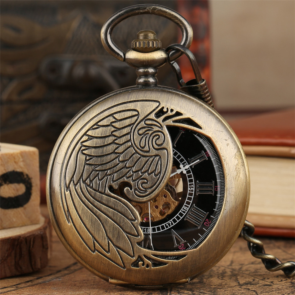 Vintage Bronze Wings Half Hunter Mechanical Pocket Watch Gold Skeleton Hand Winding Pendant Pocket Clock Retro Watch Gifts