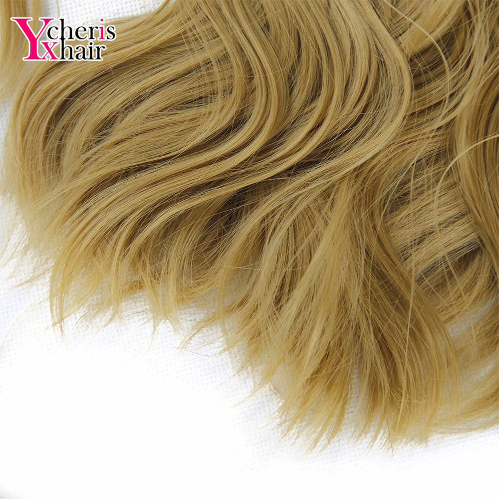 """YXCHERISHAIR 1 unids/pack Clip en extensiones de pelo de onda sintética de cuerpo 18 """"largo Natural negro marrón Rubio Ombre"""