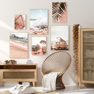 Boho Pink Palm Travel Car Beach Desert Ocean Wall Art Canvas Painting Nordic Posters Prints Wall Pictures for Living Room Decor