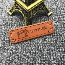 Clothing-Labels Handmade Leather-Tags Gift with Sewing-Machine-Logo