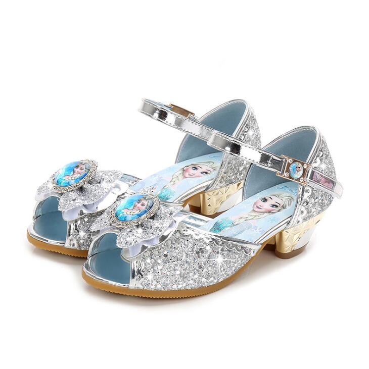 Child Girls Elsa Sandals Kids High Heel Bowtie Glitter Shoes Enfant Princess Dance Summer Sandal Wedding Shoes