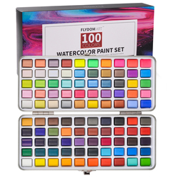 90/100 Colors Solid Watercolor Paint Set Contains Pearl Fluorescent Glitter Metallic Macaron Color Drawing Painting Art Supplies