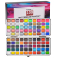 FLYDOM ART 90/100 Colors Solid Watercolor Paint Set Contains Pearl Fluorescent Glitter Metallic Macaron Color Art Supplies