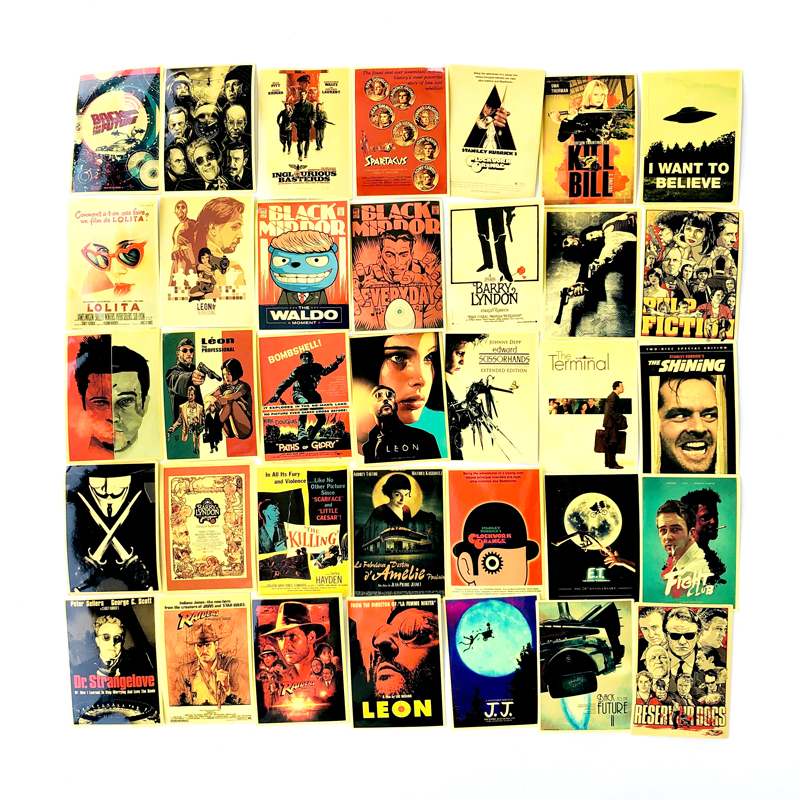 54pcs Classic Movie Stickers Retro For Luggage Laptop Art Painting Kill Bill Pulp Fiction Poster Stickers Waterproof Skateboard