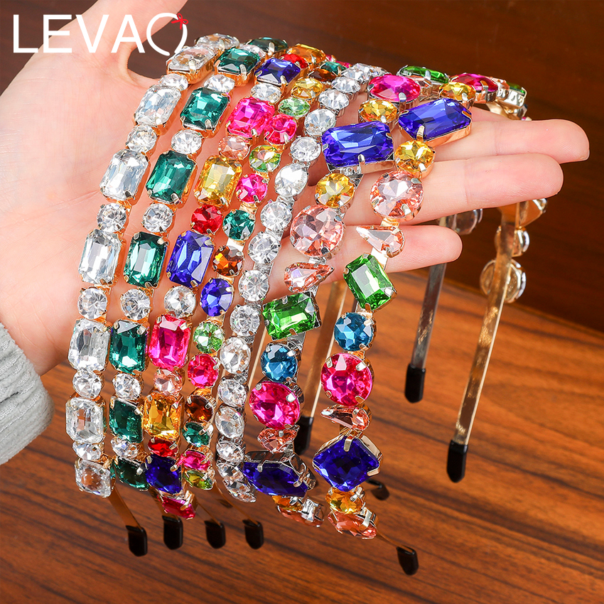 Levao Colorful Rhinestone Hairband 2020 Baroque Headband Women Girls Hair Acessories Fahsion Head Bezels Spring Head Hoops