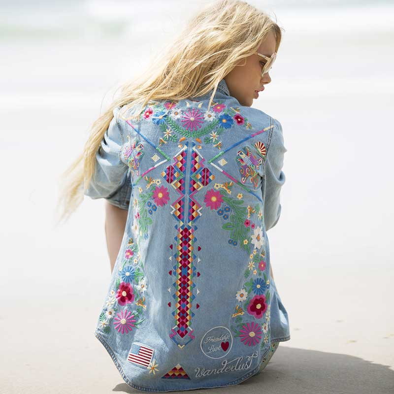 Light Blue Denim   Jacket   Women Tribe Floral Embroidery   Jacket   for Woman Summer Beach Boho Hippie Chic   Basic     Jackets   Clothing