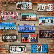 Vintage American Car número placas de Metal EE. UU. Licencia cartel Bar Pub garaje café hogar Metal signo placa pegatina Decoración