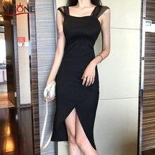 Новинка сексуальное длинное черное платье vicone из газовой