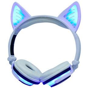 Image 4 - LIMSON 3.5 มม.ไร้สาย Bluetooth หูฟังน่ารักชุดหูฟังเรืองแสงพับแมวหู Headband ของขวัญเด็กหญิง