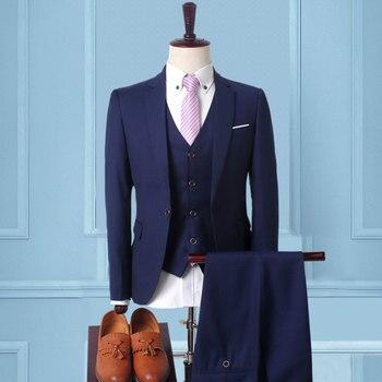 Men's Stylish 3 Piece Business Dress Suit Classic Fit Formal Jacket Vest Pants Party Wedding Suits for Men