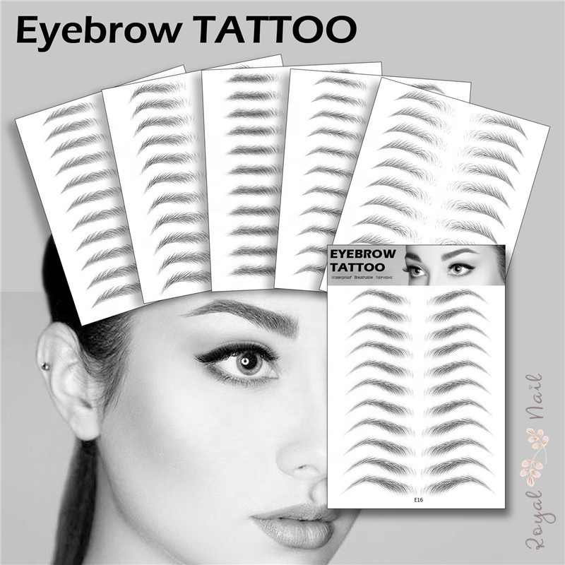 17 Pcs Magic Valse Wenkbrauwen 4D Haar-Achtige Wenkbrauw Tattoo Sticker Waterdicht Lasting Make Waterbasis Eye Brow stickers Cosmetica