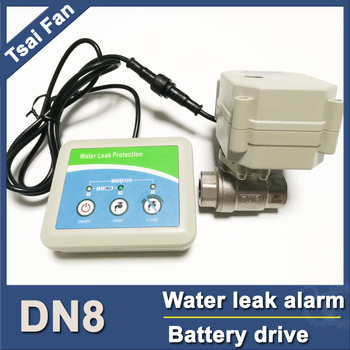 Water leak protector with SS304 DN8 electric valve, drive by battery for 2 years,intellegent water leak alarm DC3V