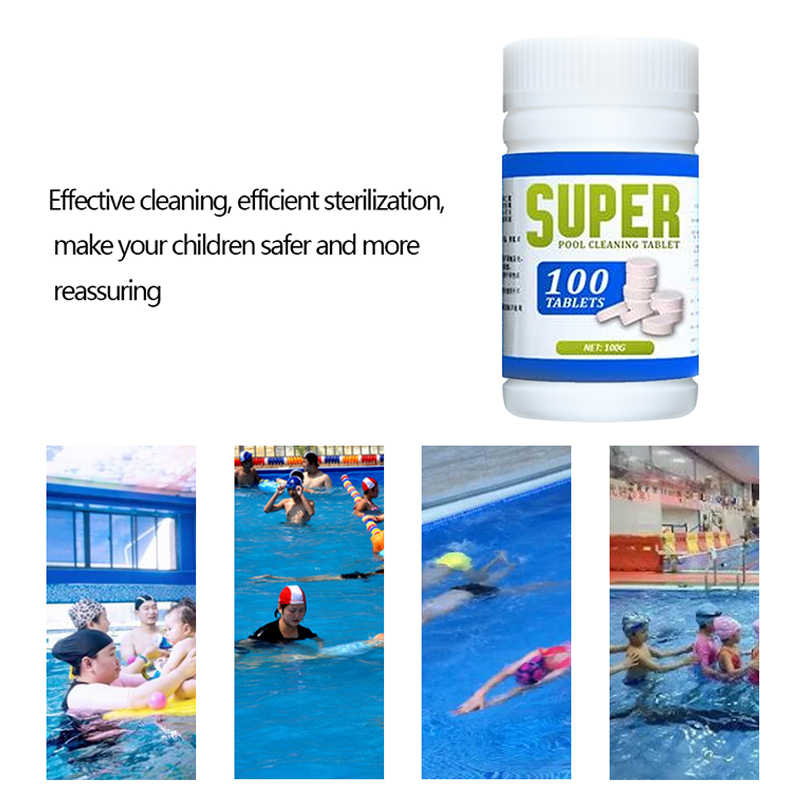 1 bottle Outdoor Swimming Pool Cleaning Effervescent Chlorine Tablets  Disinfectant Swimming Pool Clarifier 100G